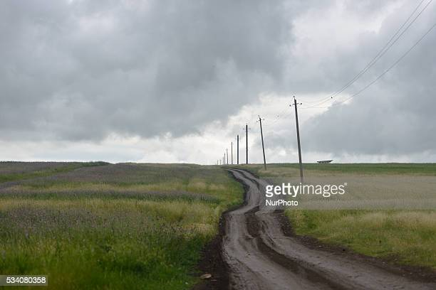 A general view of the main road between Talish and Mathagis villages situated near the KarabkhAzerbaijani contact line awaiting the embankment beside...