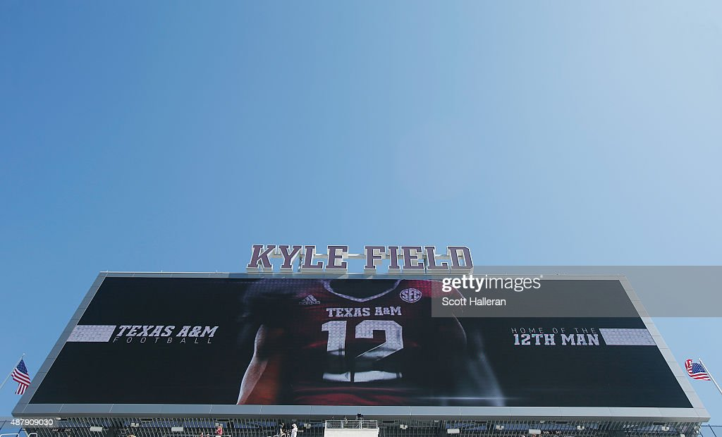 A general view of the main scorboard at Kyle Field before the start of the Texas A&M Aggies and the Ball State Cardinals game at Kyle Field on September 12, 2015 in College Station, Texas.