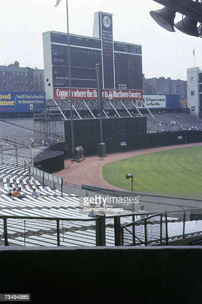 General view of the main scorebaord bleachers and monument park prior to a MLB game on July 4 1972 between the Oakland A's and the New York Yankees...