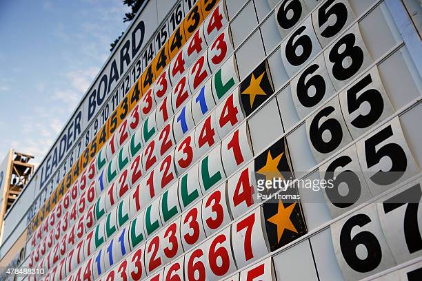 A general view of the main scoreboard during the BMW International Open day one at the Eichenried Golf Club on June 25 2015 in Munich Germany