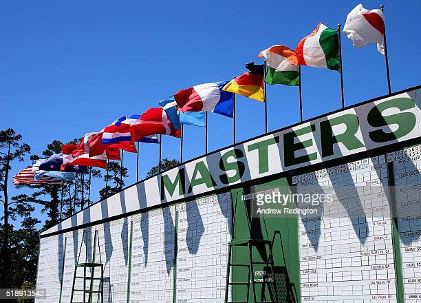 A general view of the main scoreboard during the Drive Chip and Putt Championship at Augusta National Golf Club on April 3 2016 in Augusta Georgia