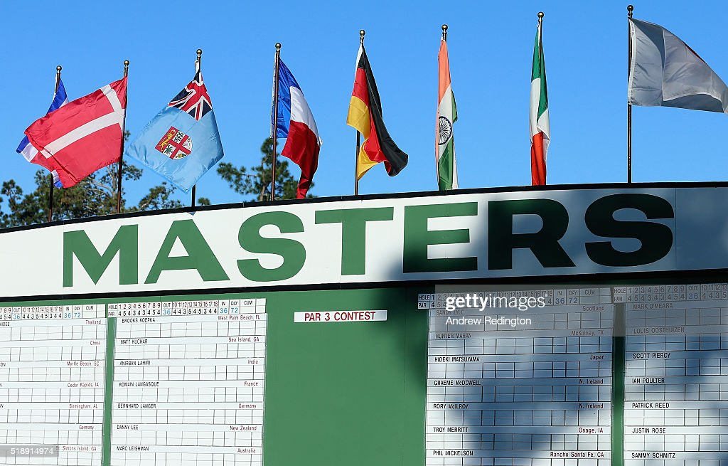 A general view of the main scoreboard during the Drive, Chip and Putt Championship at Augusta National Golf Club on April 3, 2016 in Augusta, Georgia.