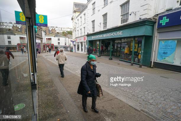 General view of the main shopping street on November 6, 2020 in Falmouth, England. England is now in its second national coronavirus lockdown,...