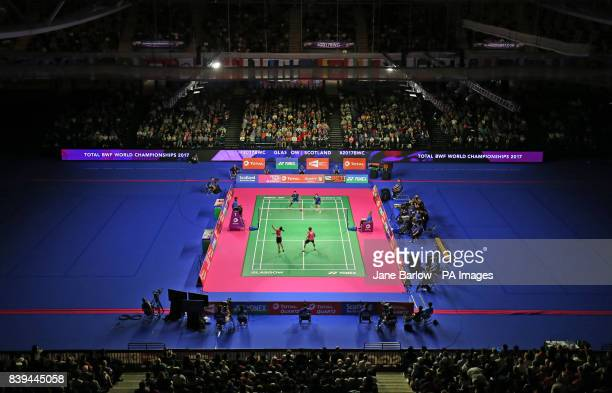 A general view of the main show court during the semi final of the mixed doubles on day six of the 2017 BWF World Championships at the Emirates Arena...