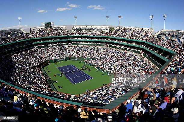 A general view of the main stadium during the men's final between Andy Murray of Great Britain and Rafael Nadal of Spain during the BNP Paribas Open...