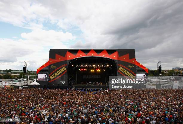 General view of the main stage as Madness perform live on the Main Stage during day two of Reading Festival 2011 on August 27, 2011 in Reading,...