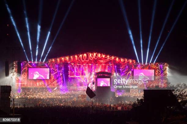 A general view of the main stage at night at the 2017 Woodstock Festival Poland on August 4 2017 in Kostrzyn Poland The threeday rock music festival...