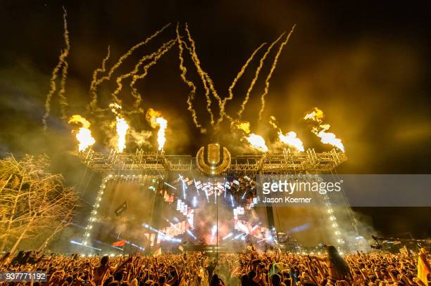 General view of the main stage at Ultra Music Festival 2018 at Bayfront Park on March 24 2018 in Miami Florida