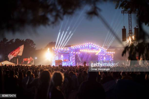 A general view of the main stage during a concert at the 2017 Woodstock Festival Poland on August 4 2017 in Kostrzyn Poland The threeday rock music...