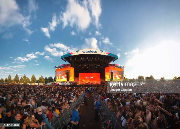 General view of the main stage on Day 3 of Wireless Festival 2018 at Finsbury Park on July 8 2018 in London England