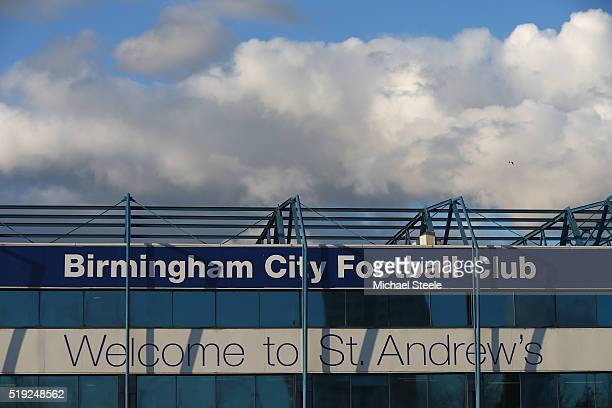 General view of the main stand ahead of the Sky Bet Championship match between Birmingham City and Brighton and Hove Albion at St Andrews on April 5...