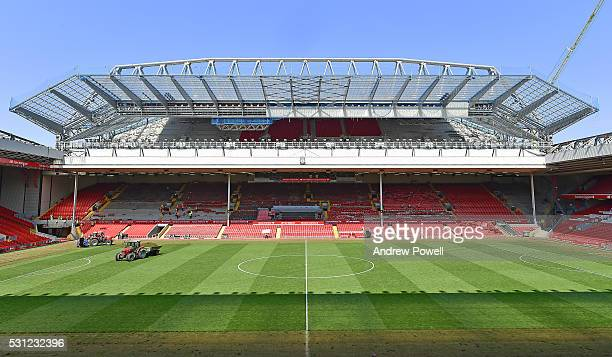 A general view of The Main Stand as the seats are being removed at Anfield on May 13 2016 in Liverpool England