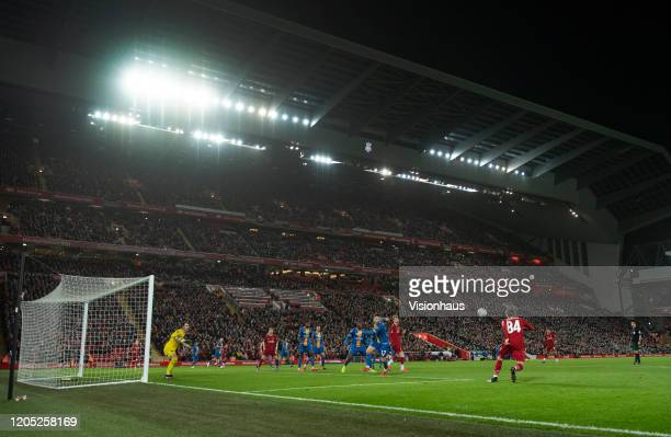 A general view of the Main Stand inside Anfield during the FA Cup Fourth Round Replay match between Liverpool and Shrewsbury Town at Anfield on...