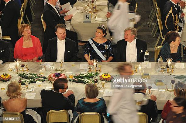 General view of the main table is seen during the Nobel Banquet at Stockholm City Hall on December 10 2011 in Stockholm Sweden