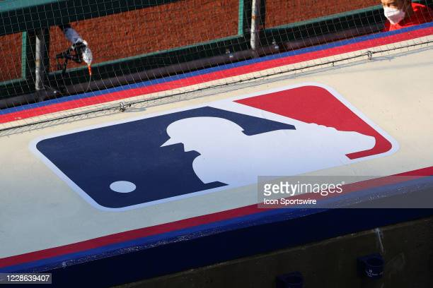 General view of the Major League Baseball logo atop the Philadelphia Phillies dugout during the Major League Baseball game between the Philadelphia...