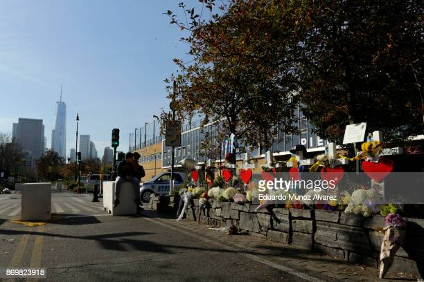 General view of the makeshift memorial for victims of Tuesday's terrorist attack along a bike path in lower Manhattan on November 3 2017 in New York...