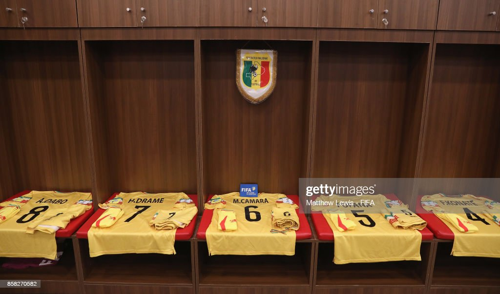 A general view of the Mali dressing room during the FIFA U-17 World Cup India 2017 group B match between Paraguay and Mali at Dr DY Patil Cricket Stadium on October 6, 2017 in Mumbai, India.
