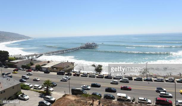 A general view of the Malibu ocean and beach atmosphere during huge swells generated by hurricane Marie Reach on August 27 2014 in Malibu California