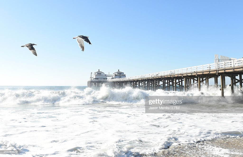 A general view of the Malibu ocean and beach atmosphere during huge swells generated by hurricane Marie Reach on August 27, 2014 in Malibu, California.