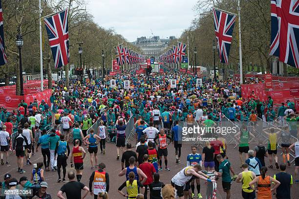 A general view of the Mall during the Virgin London Marathon 2016 on April 24 2016 in London England