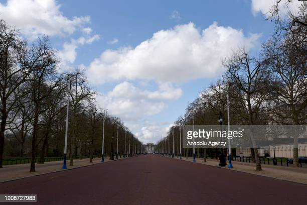 General view of The Mall on March 31, 2020 in London, England. British Prime Minister, Boris Johnson, announced strict lockdown measures urging...