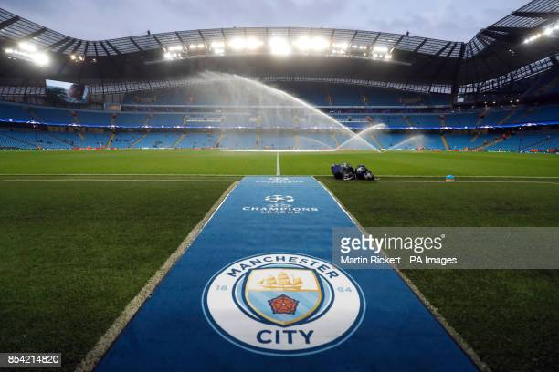 General view of the Manchester City badge pitchside before the UEFA Champions League Group F match at the Etihad Stadium Manchester PRESS ASSOCIATION...