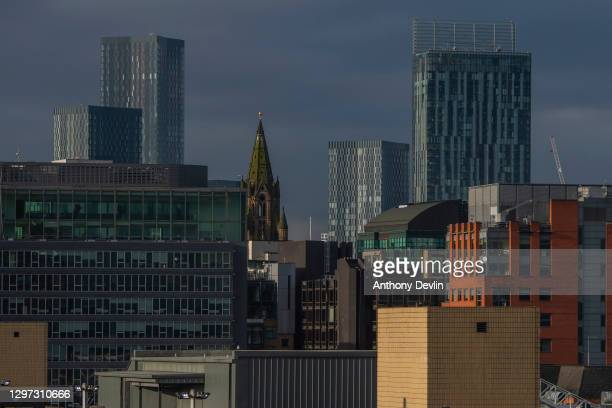 General view of the Manchester skyline including Deansgate Square, Manchester Town Hall (centre, and Beetham Tower on March 30, 2020 in Manchester,...