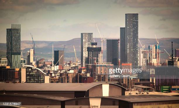 General view of the Manchester skyline showing Beetham Tower and construction work on the Owen Street development on March 16, 2020 in Manchester,...