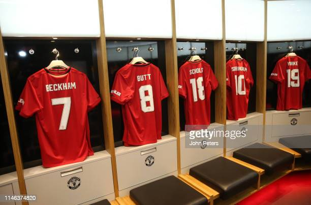 General View of the Manchester United '99 Legends kit in the dressing room prior to the 20 Years Treble Reunion match between Manchester United '99...