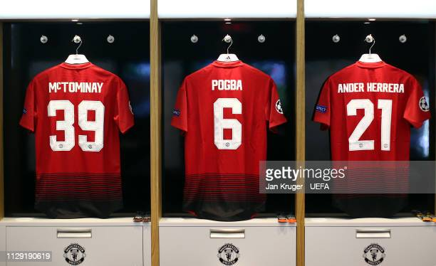 A general view of the Manchester United dressing room ahead of the UEFA Champions League Round of 16 First Leg match between Manchester United and...