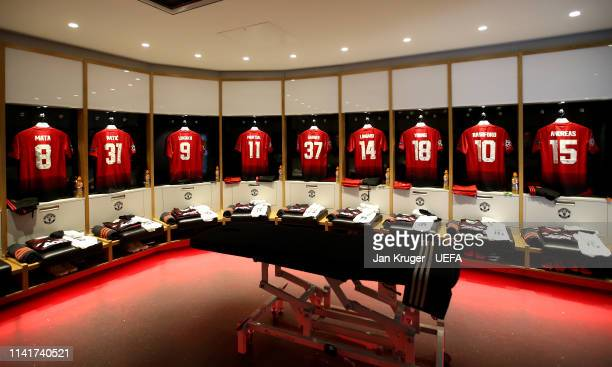 General view of the Manchester United dressing room ahead of the UEFA Champions League Quarter Final first leg match between Manchester United and FC...