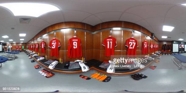 A general view of the Manchester United dressing room ahead of the UEFA Champions League Round of 16 Second Leg match between Manchester United and...