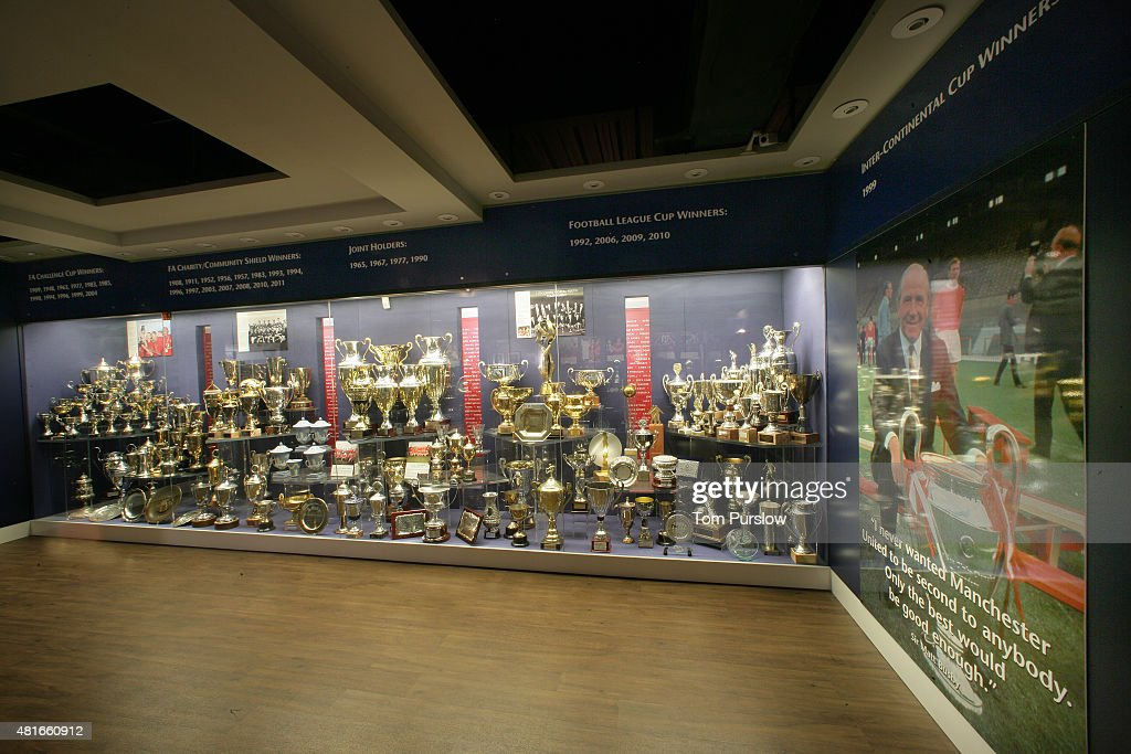 A General View Of The Manchester United Trophy Room At Old Trafford On August 01
