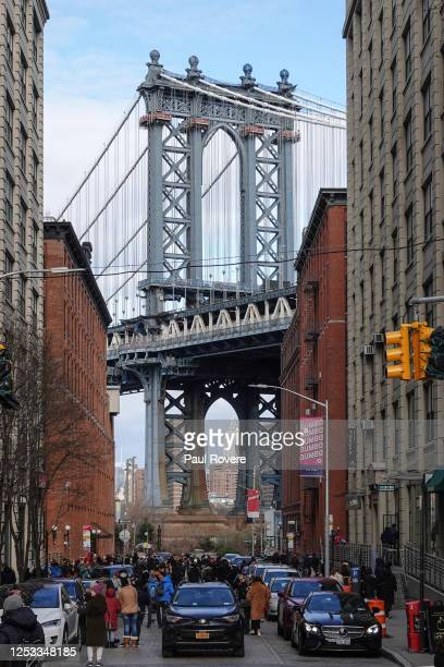General view of the Manhattan Bridge from Washington Street in Dumbo, a neighborhood in the New York borough of Brooklyn on January 01 in New York...