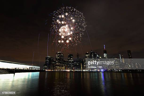 A general view of the Manhattan skyline and exploding fireworks during the 39th Annual Macy's 4th of July Fireworks on July 4 2015 in New York City