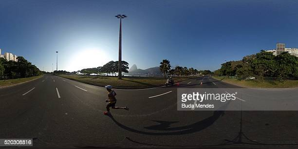 General view of the marathon as a test event for the Rio 2016 Olympic games at the Aterro do Flamengo on April 10 2016 in Rio de Janeiro Brazil The...