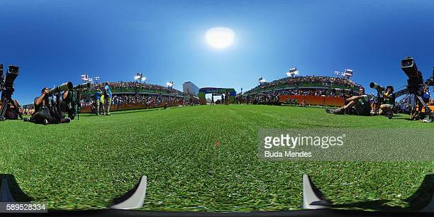 General view of the Marathon finish area on Day 9 of the Rio 2016 Olympic Games at the Sambodromo on August 14 2016 in Rio de Janeiro Brazil