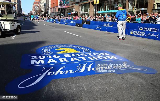 A general view of the Marathon logo near the finish line during the 120th Boston Marathon on April 18 2016 in Boston Massachusetts