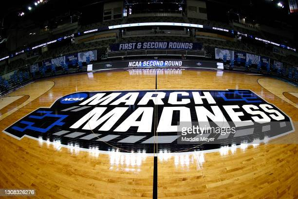 General view of the March Madness logo on center court is seen before the game between the Oral Roberts Golden Eagles and the Florida Gators in the...