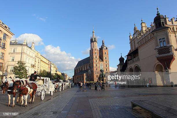 General View of the Mariacka Basilica on October 13 2011 in Krakow Poland