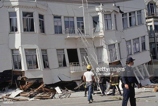 General view of the Marina district disaster zone after the earthquake, measuring 7.1 on the richter scale, rocks game three of the World Series...