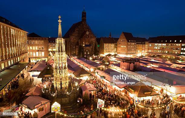A general view of the market place with the Frauenkirche in the background prior to the opening ceremony of the Christmas Market on November 28 2007...