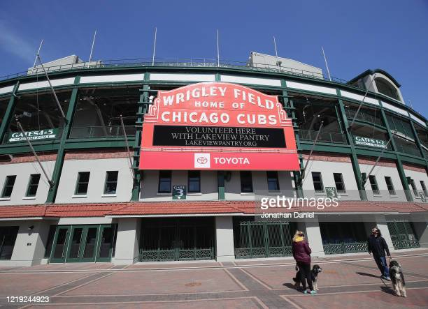 General view of the marquee outside of Wrigley Field on April 16, 2020 in Chicago Illinois. Wrigley Field has been converted to a temporary satellite...