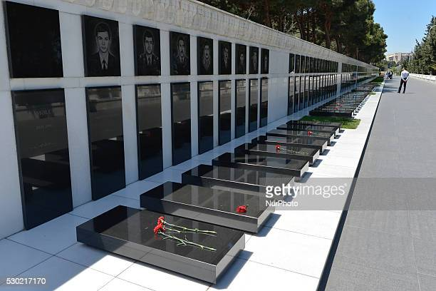 A general view of the Martyrs' Lane Alley of Martyrs or Shehidler Khiyabani formerly The Kirov Park a cemetery and memorial in Baku dedicated to...