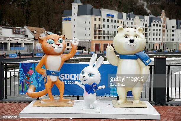 A general view of the mascots at the Rosa Khutor Mountain Cluster village ahead of the Sochi 2014 Winter Olympics on January 31 2014 in Rosa Khutor...