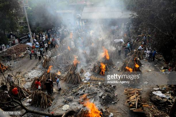 General view of the mass cremation of those who died from the coronavirus disease at a crematorium in New Delhi, India on April 28, 2021.