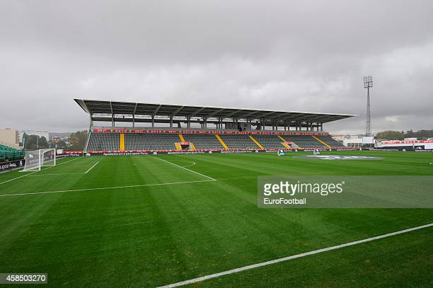 A general view of the Mata Real Stadium pitch before the UEFA U21 Championship second leg playoff between Portugal and Netherlands at the Mata Real...