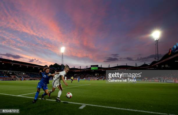 General view of the match action and sunset during the UEFA Women's Euro 2017 match between Germany and Italy at Koning Willem II Stadium on July 21...