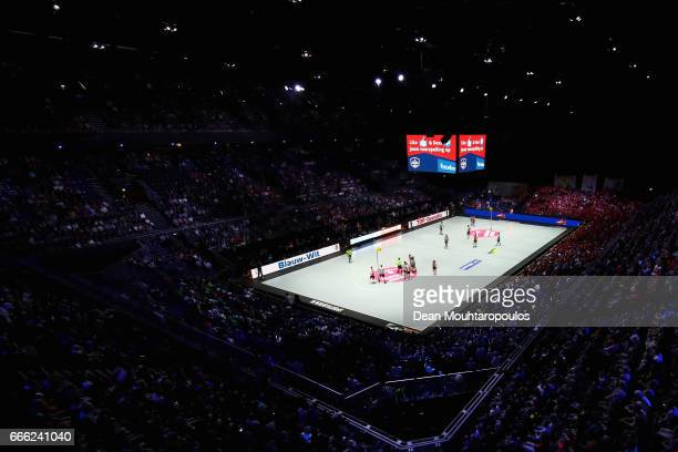 A general view of the match action during the Dutch Korfball League Final between BlauwWit and TOP/Quoratio held at the Ziggo Dome on April 8 2017 in...