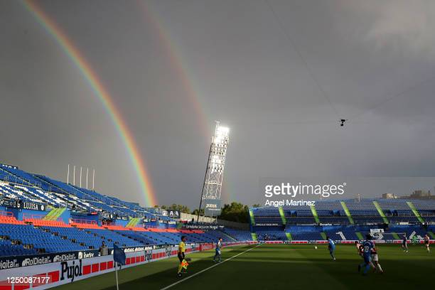 A general view of the match as a double rainbow is seen over the stadium during the Liga match between Getafe CF and RCD Espanyol at Coliseum Alfonso...